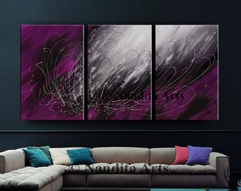 OIL PAINTING, Modern Art for Sale Purple Original Abstract Art on Canvas Large Wall Art Decor, Living Room Decor by Contemporary Art Daily