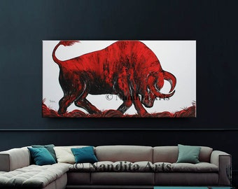 """Oil Painting, Abstract Art, Wall Art, 48"""" Bull Original Painting on Canvas, Red Luxury Looks, Large Painting, Artwork, Modern Art by Nandita"""