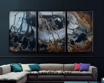 "Large Modern Art, Abstract Painting Gray Brown art decor extra large wall art Original Contemporary Art 72""x36"" (182.88cmx91.44)by Nandita"