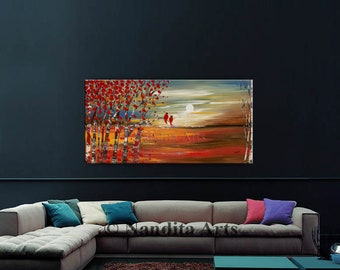 """Abstract Painting LANDSCAPE PAINTING, Oil Paintings on Canvas 48"""" Sunsets Textured Wall Art, Red Bird Modern Art Landscape Art - Nandita"""