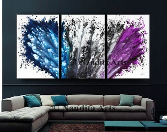 "Abstract Painting, 72"" Acrylic Paintings on Canvas Blue Luxury Style Large Modern Wall Art, Contemporary Art Living Room Decor Fast Shipping"