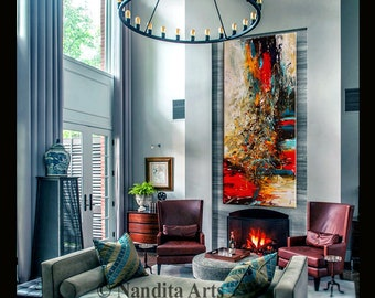 OIL PAINTING Abstract Modern Art Purple Original Painting On Canvas Large Wall Decor Living Room By Contemporary