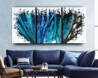 Oil Blue Modern Art, Abstract Artwork, Large Wall Art, Modern Painting Original Landscape Modern Artwork Modern Christmas Home Décor Nandita