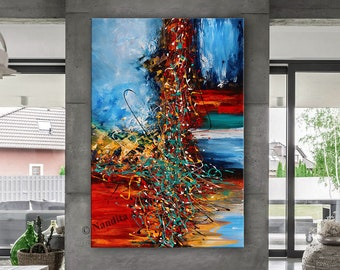 OIL PAINTING Acrylic Abstract Modern Art Red Original Painting Blue Art on Canvas Large Wall Art Decor Living Room Decor by Contemporary Art