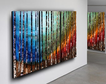 Birch Tree Painting Landscape Art Acrylic Nature Silent Forest Canvas Art Turquoise Teal Wall Art by Nandita Albright