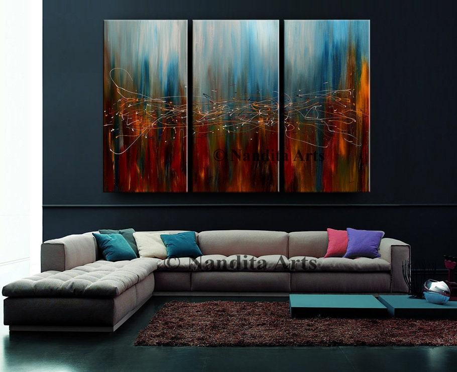grand mur art original abstrait peinture acrylique home decor etsy. Black Bedroom Furniture Sets. Home Design Ideas
