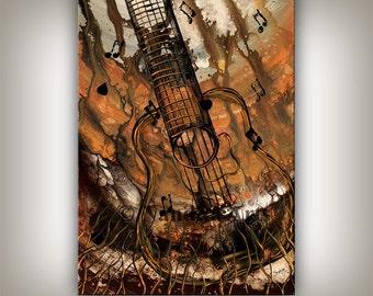 Music Art Painting, Guitar Music Art, Dark Brown Oil Painting, Original Painting, Boyfriend Gift, Acoustic Guitar on Canvas by Nandita
