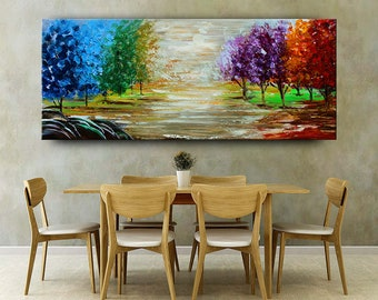 Painting, LANDSCAPE CANVAS ART, Acrylic large size painting, Sunsets Scenery Landscape Wall Art, Acrylic abstract Jackson Pollock Wall Art..