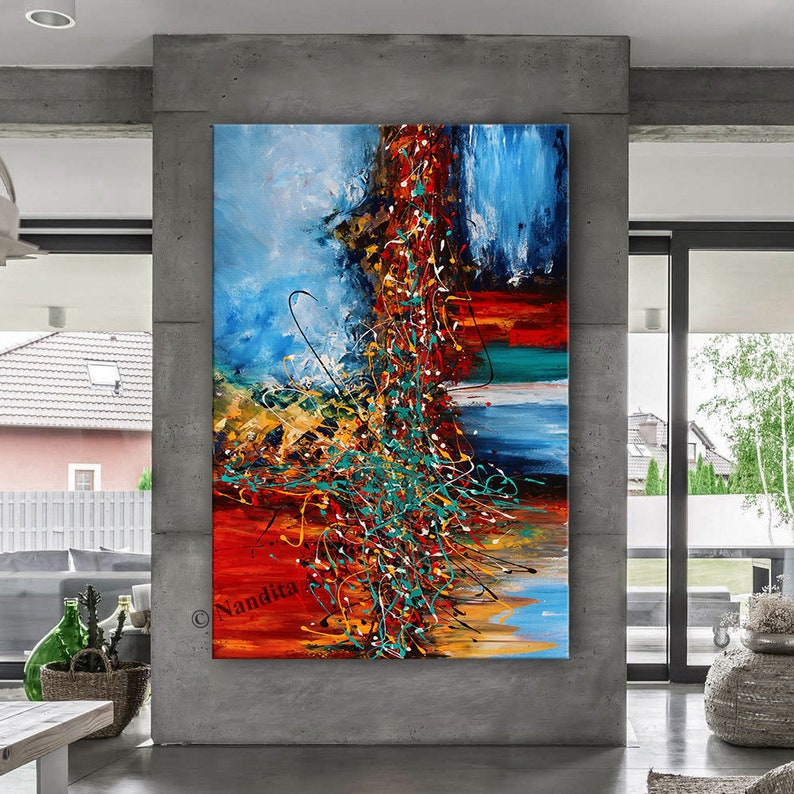 OIL PAINTING Acrylic Abstract Modern Art Red Original Painting image 1