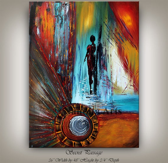 Abstract People Walking Wall Art Figure Art Abstract Painting On Canvas Original Modern Art Blue Red Contemporary Art Oil Painting Nandita