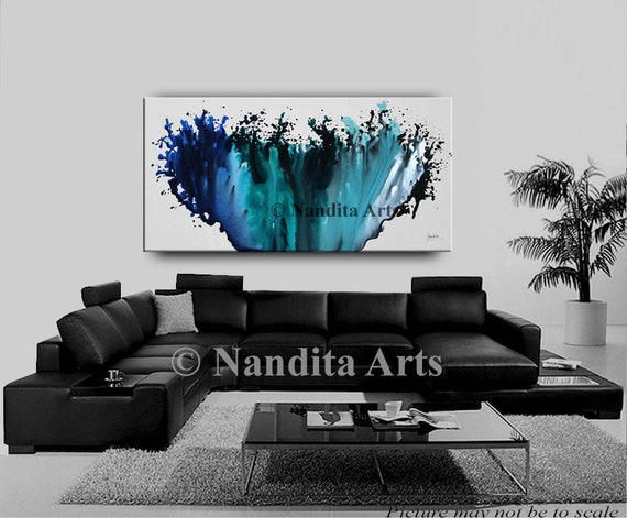 Turquoise living room decor, Wall art ABSTRACT PAINTING, Abstract modern  art, Contemporary Art, Wall Hanging, Ocean, Teal and Blue Artwork
