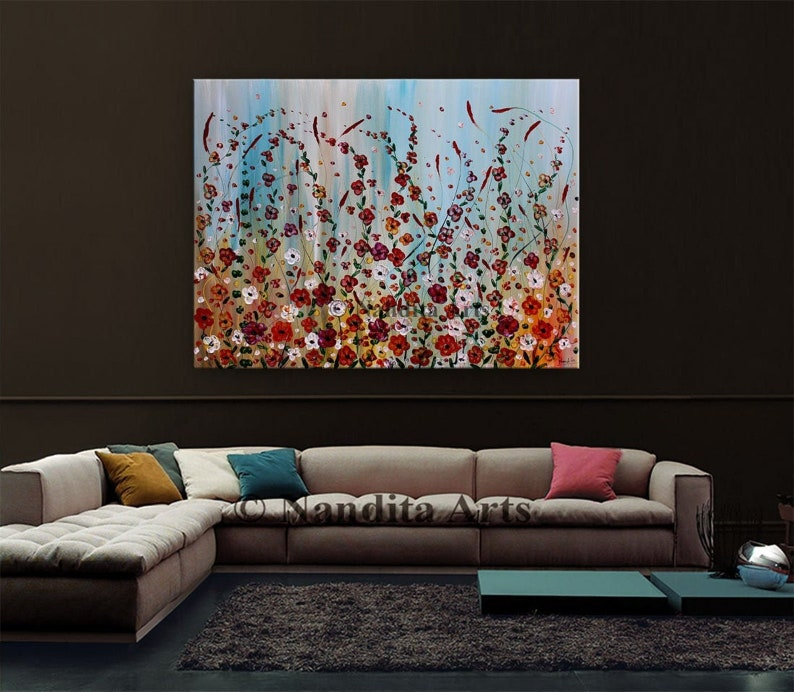 Flower Canvas Wall Art  Textured Painting On Canvas  image 0