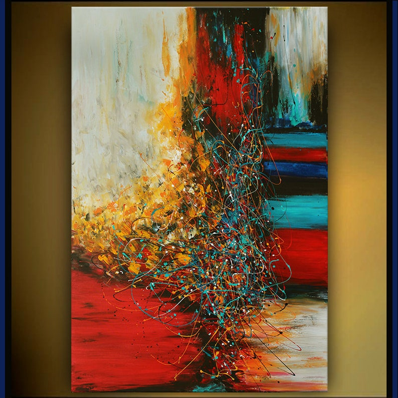 OIL PAINTING Acrylic Abstract Modern Art Red Original Painting image 0