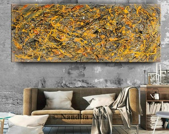 """Acrylic Painting Jackson Pollock Abstract Painting 96"""" Handmade Blue Luxury Style Large Modern Wall Art Unique Living Room Décor"""
