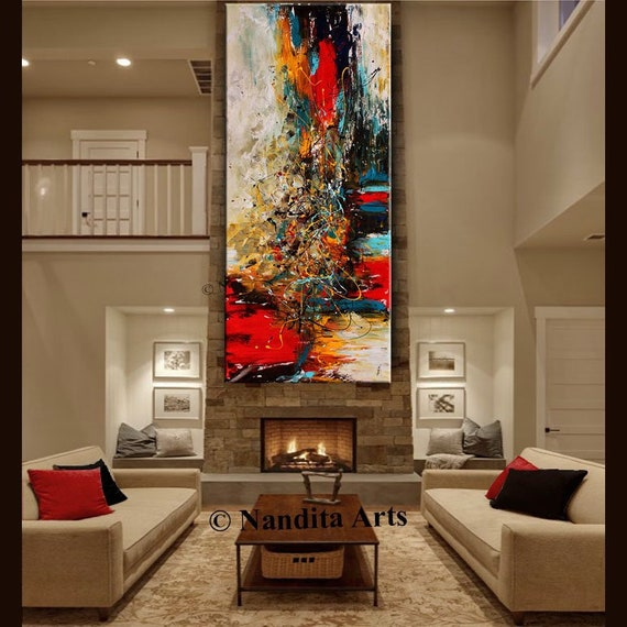 Groovy Oil Painting Abstract Modern Art Red Original Painting Acrylic Art On Canvas Large Wall Art Decor Living Room Decor By Contemporary Art Interior Design Ideas Clesiryabchikinfo
