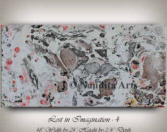 """Watercolor painting, Mixed Media, Original Artwork, Handmade brown painting, Gray and white home decor, office decor """"48x24""""(121.92x60.96)"""