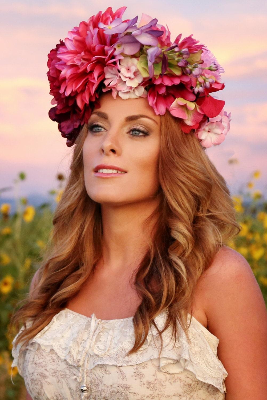 Flower Crown Flower Headdress Floral Headdress Day Of The Etsy
