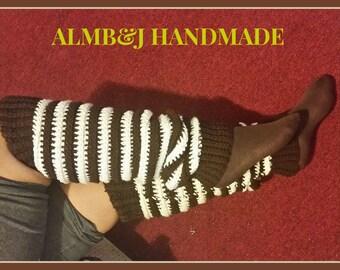 Crochet Leggings , Slouchy Legwarmers , Boot Socks , Yoga Socks , Dance Socks , Crochet Legwarmers , Easter Gift , In Brown and White