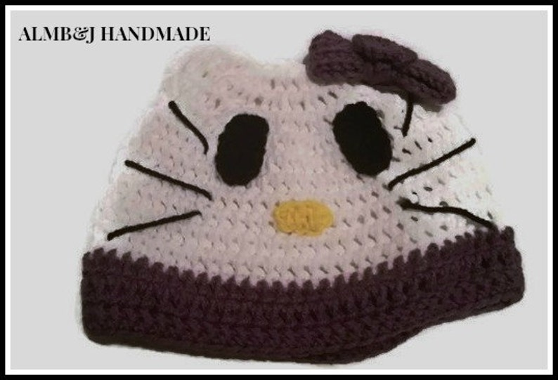 abb354d4a Character Beanie , Crochet Hat , Character Hat , Hello Kitty Inspired  Beanie , with Purple Trim and Bow Teen Small Adult Mothers Day Gift