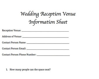 Wedding Reception Venue Information Sheet