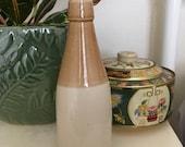 Antique salt glaze stoneware beer sauce condiment bottle jar glazed primative pottery ENGLISH crock