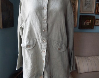Vintage  90/'s olive green faded French linen shirt Farm House Shabby Mao collar