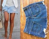 28 Waist Vtg 1970 39 s S Levi 39 s Big E skirt perfect fade indigo cut off denim boyfriend festival