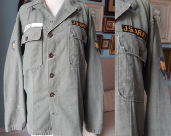 d448ef13595 Vintage 1960 s 70 s Vietnam olive drab military shirt Fatigues jacket US  Army distressed punk gear