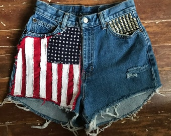 Vtg high waist Cut offs denim shorts studs American Flag moto PEGGYOWASHERE design