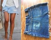 33 Waist Vtg 70 39 s Lee SKIRT cut off denim jeans indigo Destroyed reworked faded