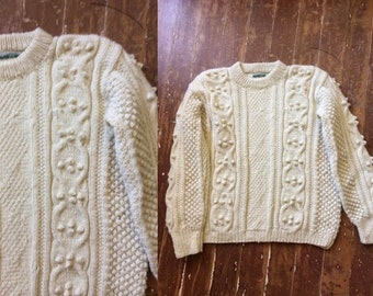 9255f67eeefd Donegal Ireland Fisherknit Irish cable knit sweater Vintage 1950 s jumper  hand crafted cream New wool size small