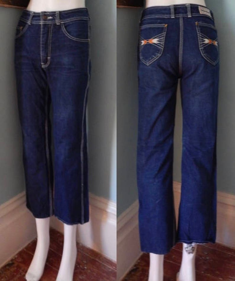 4c2aba2dce Vtg 1970's YSL designer jeans indigo tight denim chic supermodel faded  28/26 crop Slim