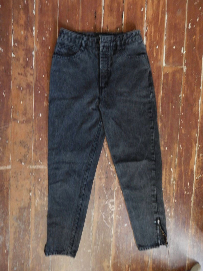 Vtg 1980/'s Guess high waisted faded black denim jeans size 2 made in USA zipper cuff pencil pants