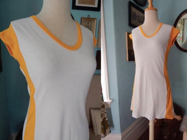 c84c1eccaca0 VTG 70 s summer white jersey dress mustard terry trim