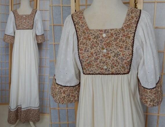 Vintage 70's calico hippie bib prairie MAXI DRESS