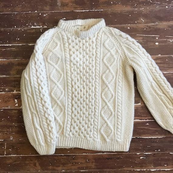 Vintage Handmade Ireland Fisher knit cable sweater jumper  wool size medium think OOAK