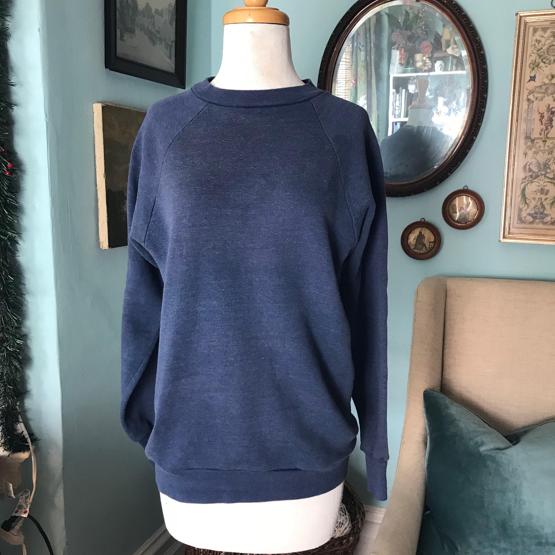 1970s Mens Shirt Styles – Vintage 70s Shirts for Guys Vintage 1970s Sears Raglan 5050 Faded Denim Blue Sweat Shirt Made in Usa $30.00 AT vintagedancer.com
