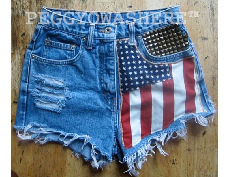 c1c476178b Vtg faded rag high waist Cut offs denim shorts Massive brass | Etsy