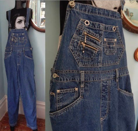 Vintage Overalls & Jumpsuits Veg 1990s Zipper Denim Overalls Bibs Grunge Club Kid Playsuit Slim Fit Belt Loops $36.00 AT vintagedancer.com
