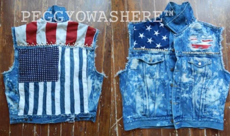 c6e2ab03e Vtg Wrangler Men's XL Cut off acid denim Trucker jacket Vest American Flag  Stud spike studs Punk coat