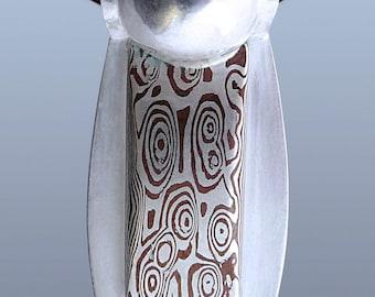 Mokume Gane Pendant Silver Copper Mokume Pendant Custom Metalsmith Unique Pendant Woodgrain Pattern Mokume Texture