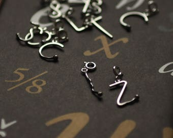Valentines day Gift Two Teeny-weeny PERFECT MATCH Burned and Unlit Letter Charms. Matches Jewelry Handmade of Sterling Silver. One of a Kind