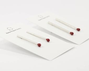 Matchstick Unlit Stud Earrings PERFECT MATCH with Red Enamel . Matches Jewelry Handmade in Latvia of Sterling Silver. One of a Kind.