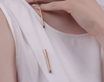 Golden PERFECT MATCH Unlit Matchstick Pin Brooch. Matches Jewelry Handmade of Gold Plated Sterling Silver. One of a Kind.