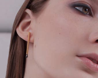Golden Unlit PERFECT MATCH Stud Earrings. Matches Jewelry Handmade in Latvia of Gold plated Sterling Silver. One of a Kind.