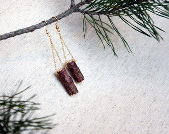 Handmade Natural Pine Wood Asymmetrical Earrings with Gold foil. Gold color chain. Eco friendly. Made in Latvia For nature lovers