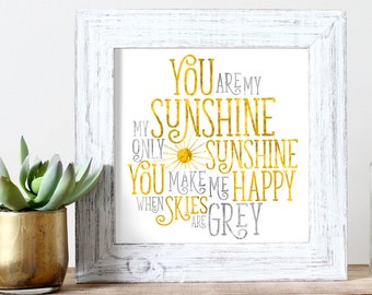 You Are My Sunshine - Watercolor Print - Kids Wall Art - Instant Download - Quote Pictures - Nursery Rhyme Song - Sunshine Printable Decor