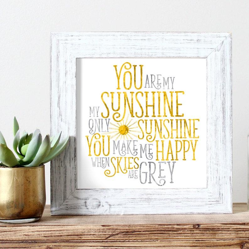 You Are My Sunshine  Watercolor Print  Kids Wall Art  image 0
