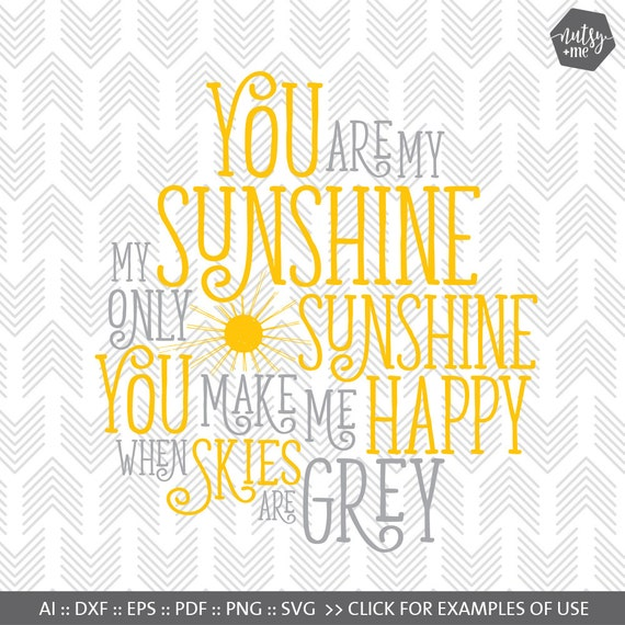 You Are My Sunshine Svg Files Cut File For Silhouette Etsy