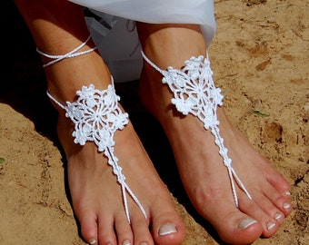 Beach Wedding Bridal Nude Shoes Flip Flop Ivory Crochet Barefoot Sandals Accessories Bridal Foot Jewelry Chrochet Anklet